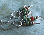 Rustic Sterling Silver Mixed Color Beaded Earrings Autumn Earrings
