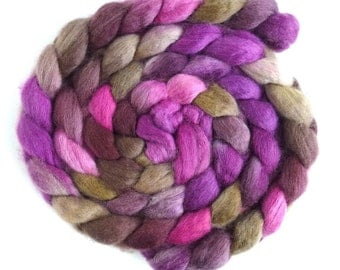 BFL Wool Roving - Hand Painted Spinning or Felting Fiber, Stone and Amethyst