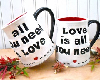 ALL You Need Is Love Mugs Set - HandMade Letterpress Stamped Rustic Black White Red Heart Beatles Quote 2 Cups - 8th 9th Wedding Anniversary
