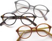 Monty L A Eyeworks imposter 1990's Panto Carved Tortoise, Amber Grey Gray Round Hornrim NOS Eyeglass Frames Keyhole Bridge