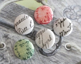 """Handmade Large Rustic Country Cream Red Green Airmail Postal Script Stamps Fabric Covered Buttons, Vintage Airmail Stamps Magnets, 1.2"""" 5's"""