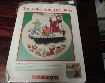 Christmas Tree Skirt Counted Cross Stitch Kit Toy Collection Tree Skirt or Table Cover Sunset Dimensions 8393 Barbara Mock Ready to Stitch