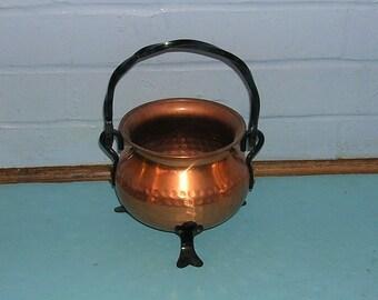 Vintage Copper Basket Bucket Hammered Copper Basket Bucket With Iron Handles