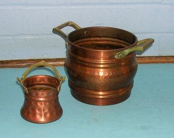 Vintage Copper Baskets Hammered Copper Baskets With Brass Handles