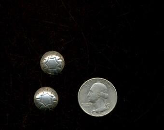 NAVAJO Sterling Design Stamped Dome Vintage Earrings
