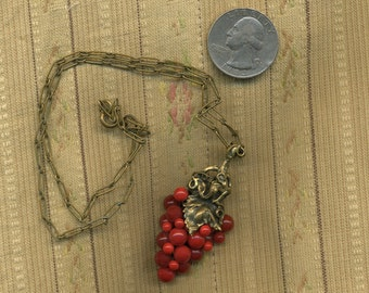 VINTAGE RED Glass GRAPES and Solid Brass Grape Leaf 1920s - 1930s Necklace