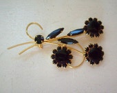 Valentines Day Sale Vintage jet black flower rhinestone brooch or pin gold tone