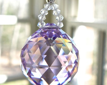 """Violet Crystal Ball Window Hanger, Rainbow Maker, Swarovski Crystal for Car Rearview Mirror, Lilac Prism, Car Charm - """"LITTLE SIMPLICITY"""""""