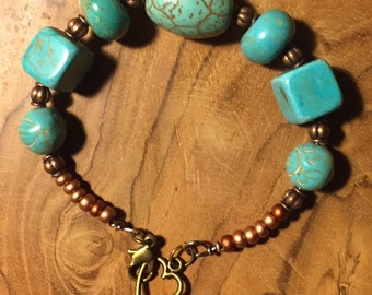 Turquoise and copper bead boho bracelet, Stackable