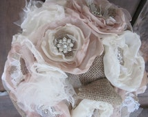 Bridal Brooch Bouquet , Burlap Wedding Bouquet,Rhinestone Bouquet,Fabric Flower Bouquet,Champagne and Ivory, Shabby Chic Bouquet