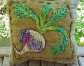 Turnip Fall Harvest Pillow Hand Embroidered Rustic Decor Ready to Ship YelliKelli
