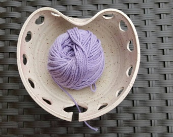 Heart Yarn Bowl with a Hint of Pink