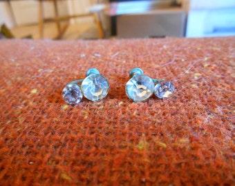 Old Double Rhinestones Screw On Earrings