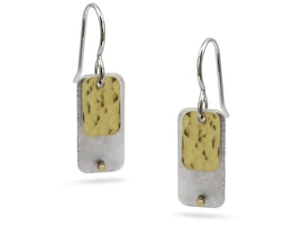 Rectangle with Fused Gold Rectangle and Gold Rivet Earrings