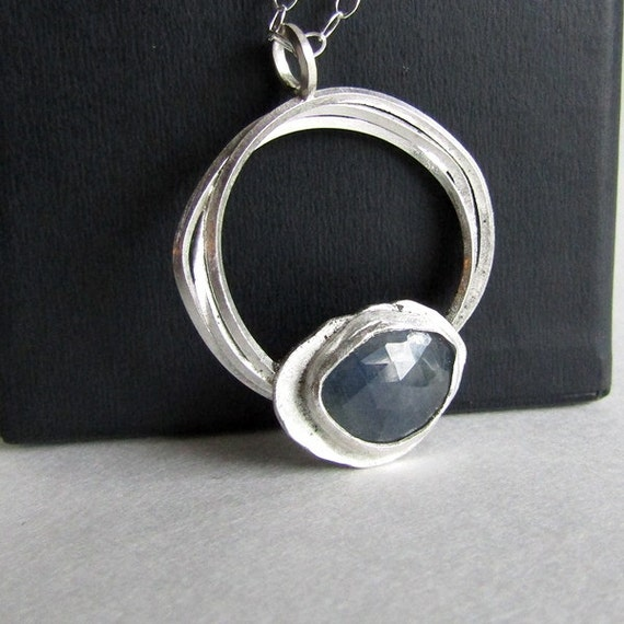 Blue sapphire necklace september birthstone abstract for Sapphire studios jewelry reviews