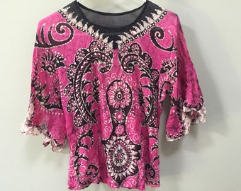 Bohemian Batik Blouse, Pink Batik Top, Hot Pink & Black Batik Dyed African Shirt, Ethnic Boho Tribal Hand Dyed Hippie Shirt Festival Top S M