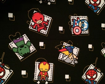 Marvel Comic SuperHeroes Kawaii Badge Fabric By The Yard