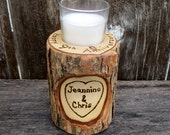 9th Anniversary Candle of Rustic Willow Wood Inscribed with Your Initials or Names in a Heart  (Also 5th Anniversary or 6th Anniversary )