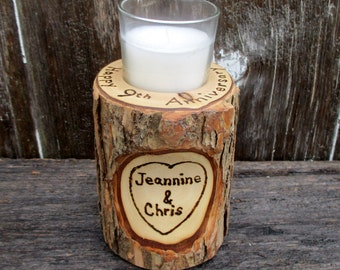9th Anniversary Candle of Rustic Willow Wood Inscribed with Your Initials or Names in a Heart