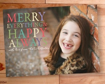 Christmas Photo Card, Photo Christmas Cards, Bright Colors, Rainbow, Merry Everything, Modern Photo card, Happy New Year
