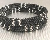 beaded bracelet black beadwork bangle bead bangle stackable