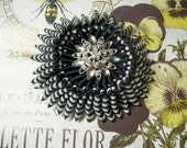 "Large Ribbon Cocarde, ""Black and White"" Civil War, Ribbon Work Starburst Cockade, Brooch, 1800s, Millinery, Hat Adornment"