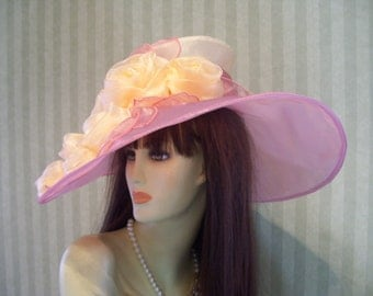 "Kentucky Derby Hat, ""Pink Crystal Beauty"" Preakness, Wedding, Easter hat Downton Abbey, Organza pink Hat"
