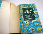 Vintage Cookbook, The ABC of Chafing Dish Cookery, Peter Pauper Press, Old Recipe Book, Blue and Olive Green Retro Graphics,  1956  (914-15)