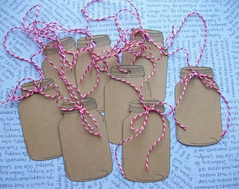 Six Kraft Cardstock Jar Hang Tags Handmade w/ Red and White Twine Set of 6 By ocbrandy