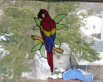 Parrot McCaw on Branch with leaves Stained Glass  Glorious  Sun catcher Light catcher