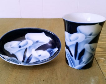 Vintage Cobalt Blue and Calla Lillies Made by  In Glaze by Takahashi of San Francisco Soap Dish and Small Tumbler Bathroom Acccessories