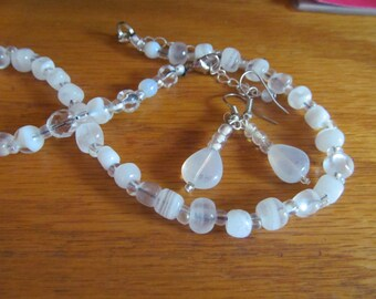 moon stone opal glass necklace