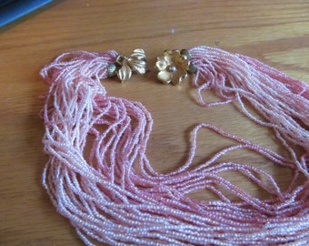 pink peach flower necklace