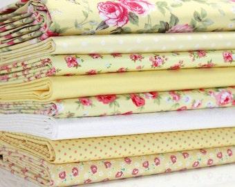 Fabric Bundle Yellow Rose  fat Eighths tissu