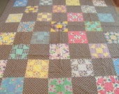 """Vintage. Mennonite Made. Hand Quilted Quilt. Feed Sack Fabrics. 80x90"""" All Cottons. Clean. Perfect Condition."""