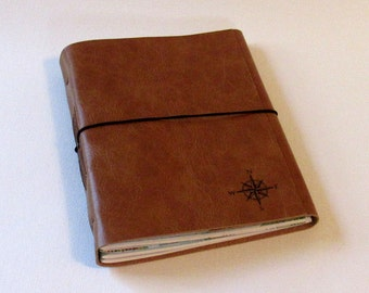 large explorer journal with maps a travel journal - tan faux leather - limited quantity