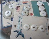Vintage Buttons - mother of pearl, 11 buttons on 4 original cards, Bluebird,Lady Fashion, Premier, Sweet- Water  (sept 356)