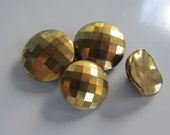 Vintage Buttons - 4 (2 matching) gold facted metalic over black glass- (lot oct 345)