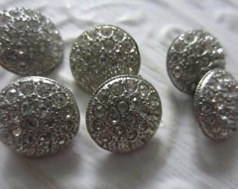 Vintage Buttons- 6 medium size matching rhinestones,  silver metal (aug33b)