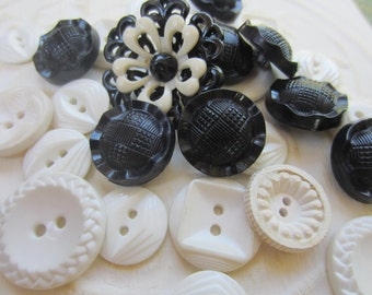 Vintage Buttons - Cottage chic mix of black and white lot of 27 old and sweet(sept 4b)