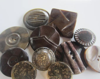 Vintage Buttons - 1940-1950's novelty celluloid, lot of 10 browns and neutrals, medium to large( oct 141)