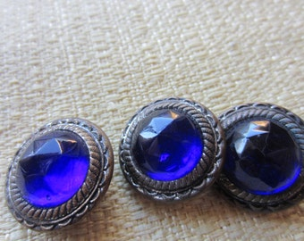 Vintage Buttons - 3 cobalt glass faceted centers beautiful unique Victorian metal design( feb 140b)