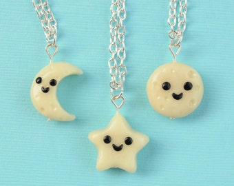 SALE! 3 Best Friend Necklaces Moon and Star, BFF Charms, BFF Necklaces