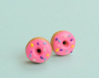 Doughnut Earring Studs Polymer Clay Pink Doughnut Earrings, Foodie Jewelry, Kawaii Food Earrings