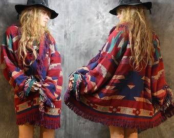Vintage Fringe Blanket Coat Tapestry Jacket Southwestern Aztec Woven Dress Coat Bohemian Hippie Majik Horse