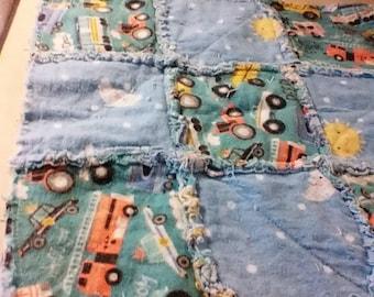 Baby lovie or burp cloth flannel rag quilt