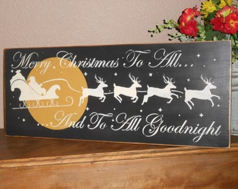 MERRY CHRISTMAS To All w/slead wood sign primitive