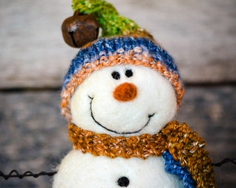 Needle Felt Snowman - Needle Felted Snowman - Christmas Snowman - Christmas Decoration - Christmas Decor -  Wool Snowman - Winter Décor -779
