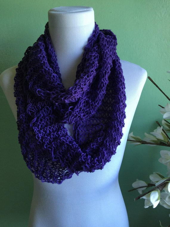 Hand Knit Infinity Scarf Merino Wool Blend Light and Lacy Summer Scarf