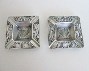 Metal Pinup Ashtrays, Two Silver Tone Square Singapore Souvenirs, tobaciana collectible